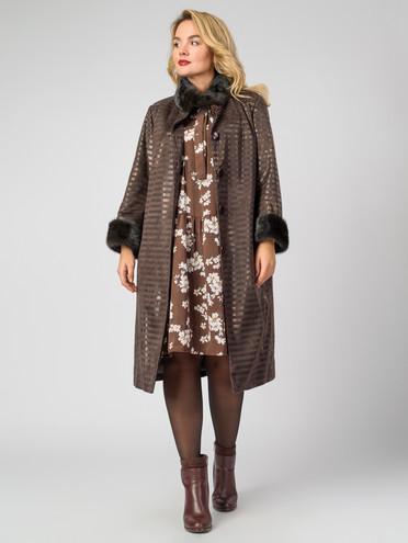 Кожаное пальто эко-замша 100% П/А, цвет коричневый, арт. 07007181  - цена 12690 руб.  - магазин TOTOGROUP