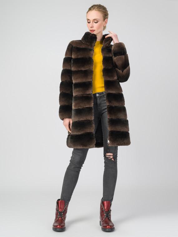 Шуба из кролика мех кролик, цвет коричневый, арт. 07007223  - цена 26990 руб.  - магазин TOTOGROUP