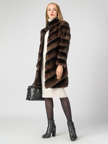 Шуба из кролика мех кролик, цвет коричневый, арт. 07007224  - цена 39990 руб.  - магазин TOTOGROUP