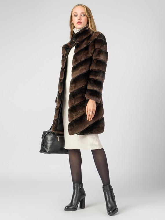 Шуба из кролика мех кролик, цвет коричневый, арт. 07007224  - цена 33990 руб.  - магазин TOTOGROUP