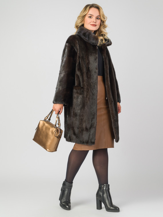 Шуба из норки мех норка, цвет темно-коричневый, арт. 07007462  - цена 79990 руб.  - магазин TOTOGROUP