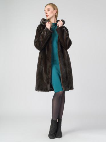 Шуба из норки мех норка, цвет темно-коричневый, арт. 07007463  - цена 89990 руб.  - магазин TOTOGROUP