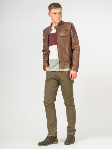 Кожаная куртка кожа , цвет коричневый, арт. 07106190  - цена 12690 руб.  - магазин TOTOGROUP