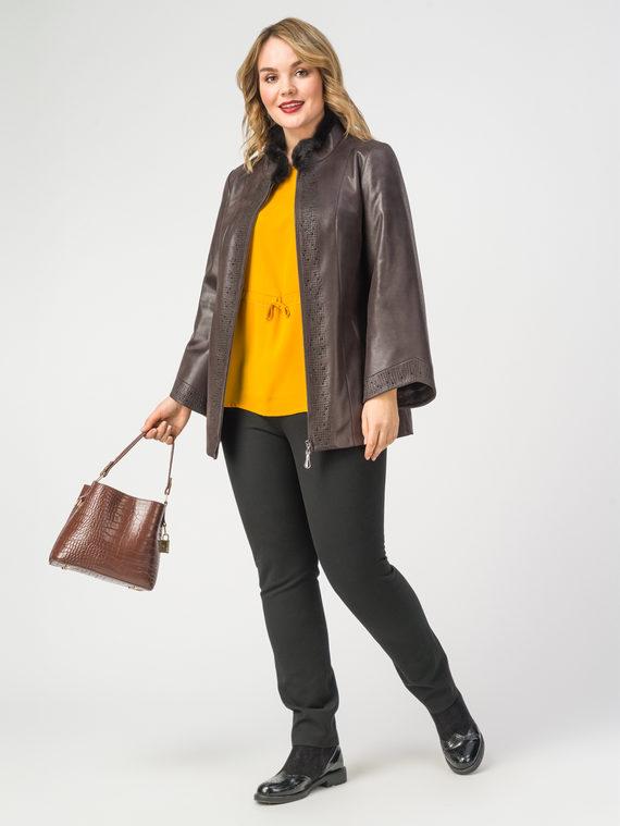 Кожаная куртка эко-замша 100% П/А, цвет коричневый, арт. 07108115  - цена 9490 руб.  - магазин TOTOGROUP