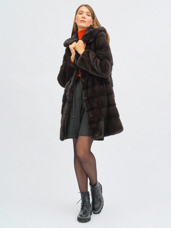 Шуба из норки мех норка, цвет коричневый, арт. 07108856  - цена 105990 руб.  - магазин TOTOGROUP