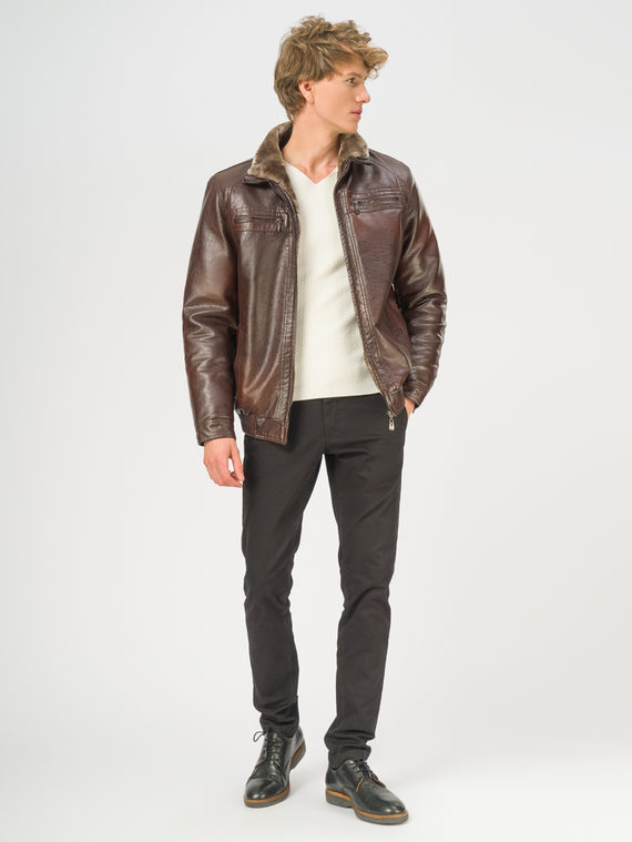 Кожаная куртка эко-кожа 100% П/А, цвет коричневый, арт. 07108922  - цена 4990 руб.  - магазин TOTOGROUP