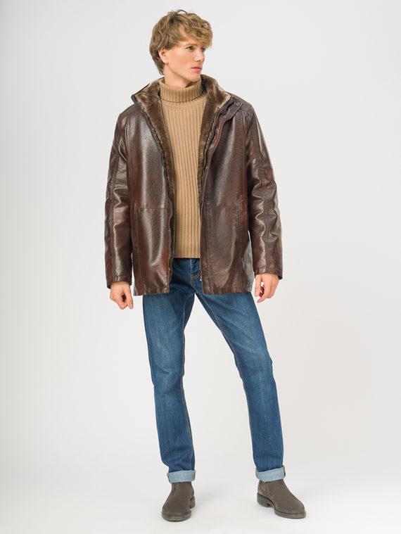 Кожаная куртка эко-кожа 100% П/А, цвет коричневый, арт. 07108924  - цена 5290 руб.  - магазин TOTOGROUP