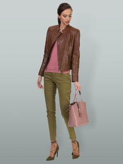Кожаная куртка кожа овца, цвет коричневый, арт. 07700023  - цена 11990 руб.  - магазин TOTOGROUP
