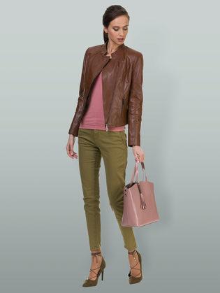 Кожаная куртка кожа овца, цвет коричневый, арт. 07700023  - цена 10791 руб.  - магазин TOTOGROUP
