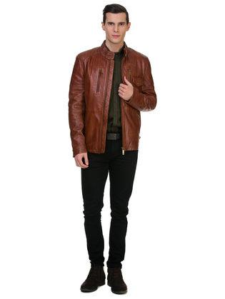Кожаная куртка кожа овца, цвет коричневый, арт. 07700060  - цена 15990 руб.  - магазин TOTOGROUP