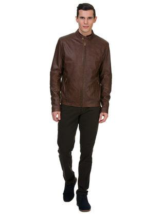 Кожаная куртка кожа овца, цвет коричневый, арт. 07700065  - цена 11990 руб.  - магазин TOTOGROUP
