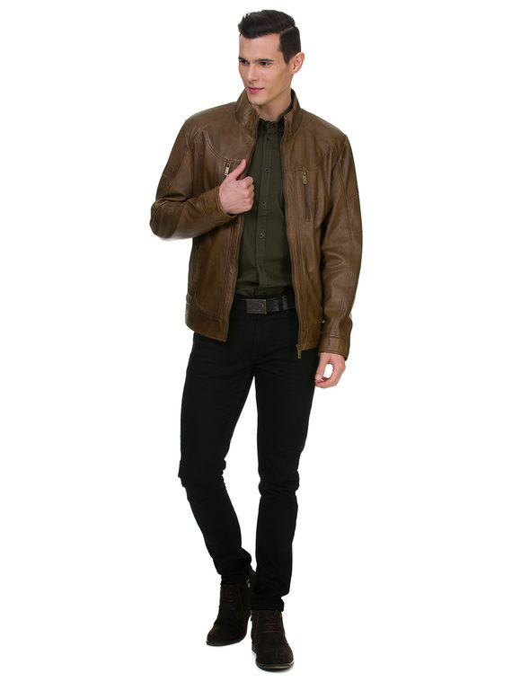 Кожаная куртка кожа , цвет коричневый, арт. 07700067  - цена 11990 руб.  - магазин TOTOGROUP