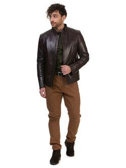 Кожаная куртка кожа овца, цвет коричневый, арт. 07700414  - цена 14990 руб.  - магазин TOTOGROUP