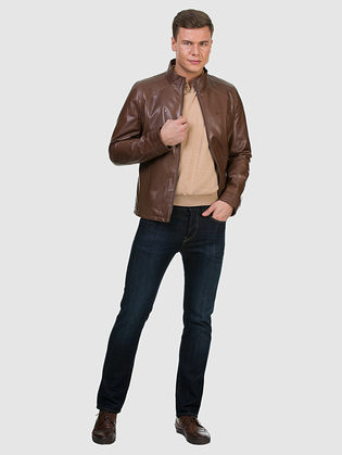 Кожаная куртка кожа коза, цвет коричневый, арт. 07700415  - цена 12690 руб.  - магазин TOTOGROUP