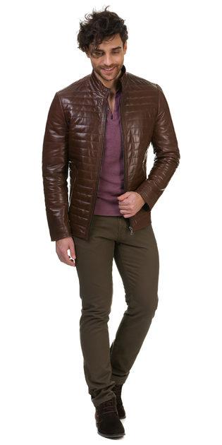 Кожаная куртка кожа овца, цвет коричневый, арт. 07700417  - цена 17490 руб.  - магазин TOTOGROUP