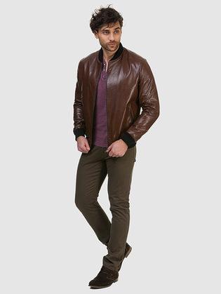 Кожаная куртка кожа овца, цвет коричневый, арт. 07700418  - цена 14990 руб.  - магазин TOTOGROUP