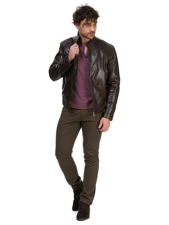Кожаная куртка кожа коза, цвет коричневый, арт. 07700420  - цена 14990 руб.  - магазин TOTOGROUP