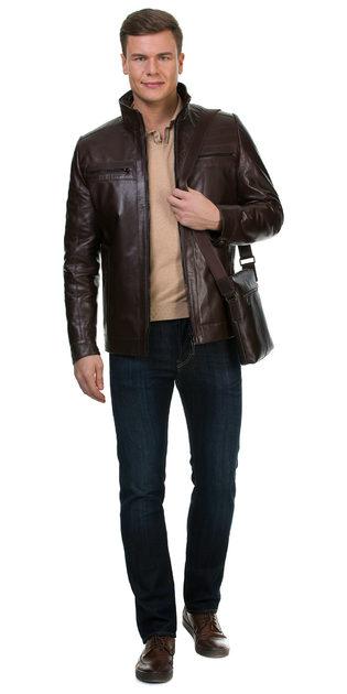 Кожаная куртка кожа коза, цвет коричневый, арт. 07700422  - цена 17990 руб.  - магазин TOTOGROUP