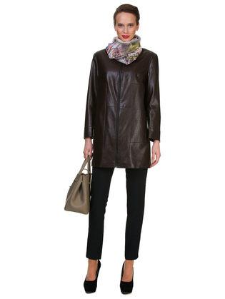 Кожаное пальто эко кожа 100% П/А, цвет коричневый, арт. 07700452  - цена 5890 руб.  - магазин TOTOGROUP
