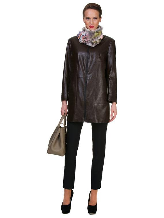 Кожаное пальто эко кожа 100% П/А, цвет коричневый, арт. 07700452  - цена 6290 руб.  - магазин TOTOGROUP