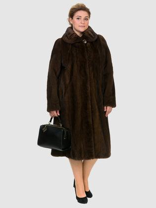 Шуба из норки мех норка крашеная, цвет коричневый, арт. 07700741  - цена 84990 руб.  - магазин TOTOGROUP