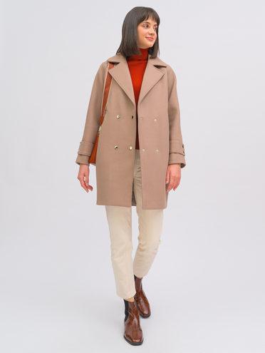 Текстильное пальто 35% шерсть, 65% полиэстер, цвет коричневый, арт. 07719896  - цена 7990 руб.  - магазин TOTOGROUP