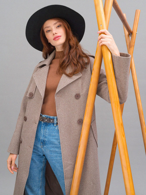 Текстильное пальто артикул 07719964/42 - фото 2