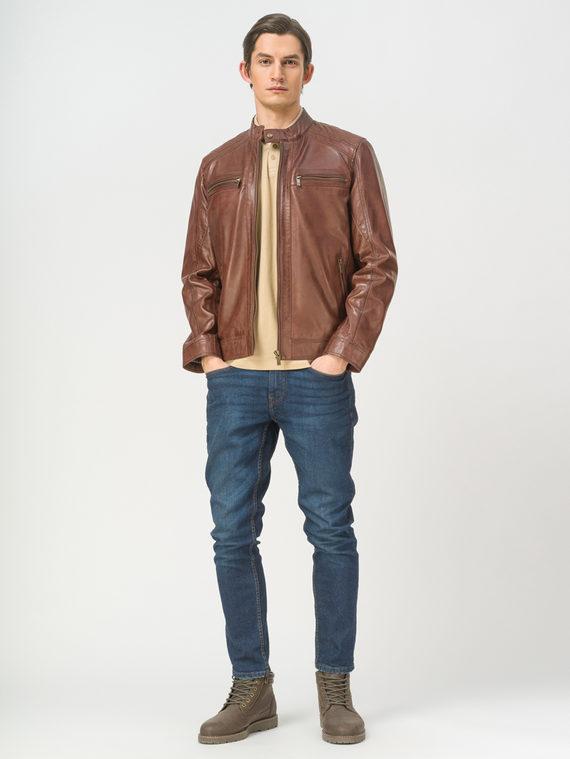 Кожаная куртка кожа, цвет коричневый, арт. 07809221  - цена 9990 руб.  - магазин TOTOGROUP