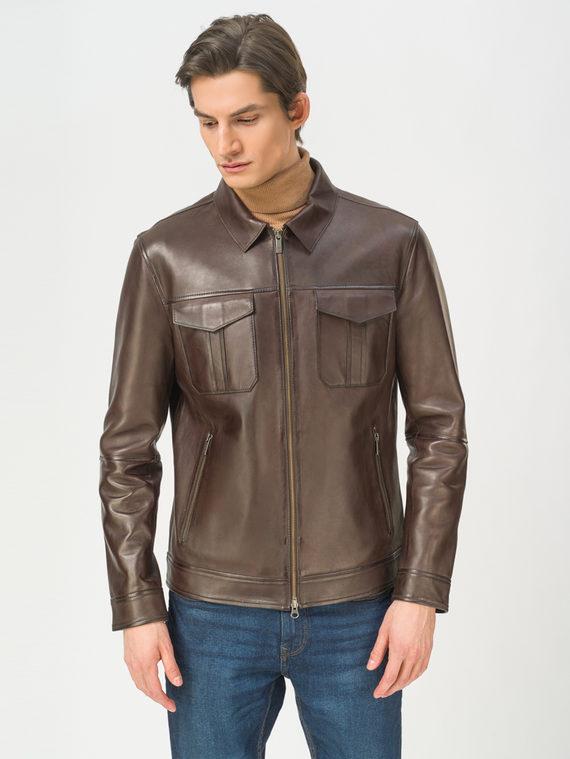 Кожаная куртка кожа, цвет коричневый, арт. 07809224  - цена 11290 руб.  - магазин TOTOGROUP