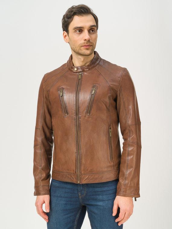 Кожаная куртка кожа, цвет коричневый, арт. 07809225  - цена 10590 руб.  - магазин TOTOGROUP