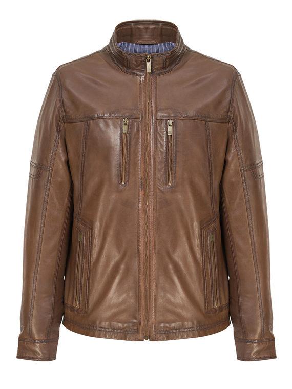 Кожаная куртка кожа, цвет коричневый, арт. 07809230  - цена 13390 руб.  - магазин TOTOGROUP