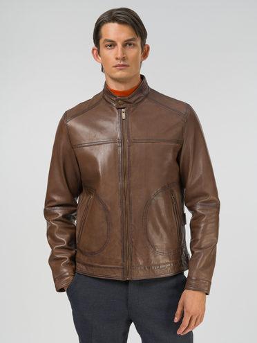 Кожаная куртка кожа, цвет коричневый, арт. 07809232  - цена 13390 руб.  - магазин TOTOGROUP
