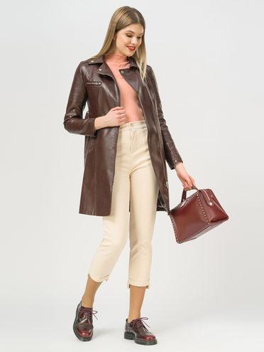 Кожаное пальто эко-кожа 100% П/А, цвет коричневый, арт. 07809896  - цена 3990 руб.  - магазин TOTOGROUP
