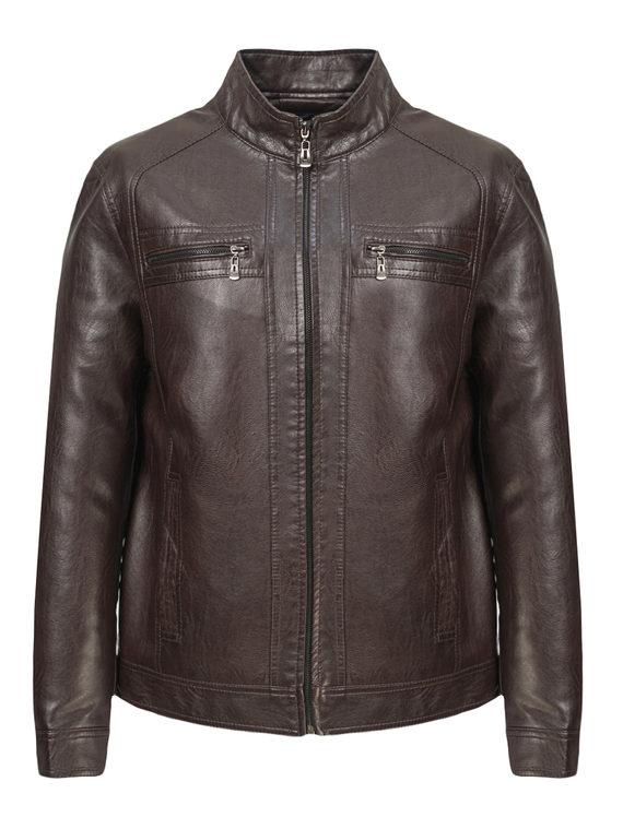 Кожаная куртка эко-кожа 100% П/А, цвет коричневый, арт. 07810203  - цена 3590 руб.  - магазин TOTOGROUP