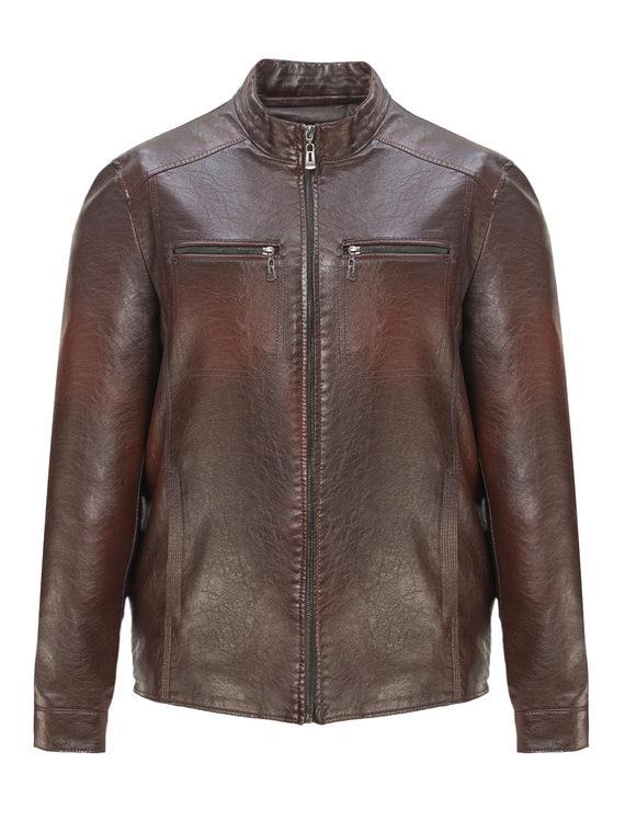Кожаная куртка эко-кожа 100% П/А, цвет коричневый, арт. 07810213  - цена 3790 руб.  - магазин TOTOGROUP