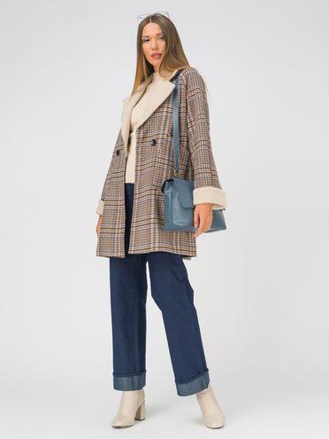 Текстильное пальто 35% шерсть, 65% полиэстер, цвет коричневый, арт. 07810745  - цена 7990 руб.  - магазин TOTOGROUP