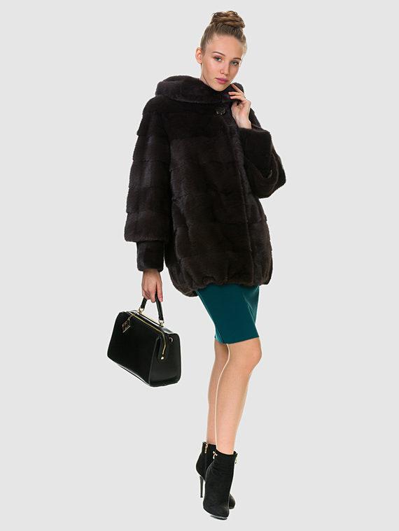Шуба из норки мех норка, цвет темно-коричневый, арт. 07900834  - цена 84990 руб.  - магазин TOTOGROUP