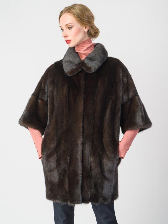 Шуба из норки мех норка, цвет темно-коричневый, арт. 07901048  - цена 56490 руб.  - магазин TOTOGROUP