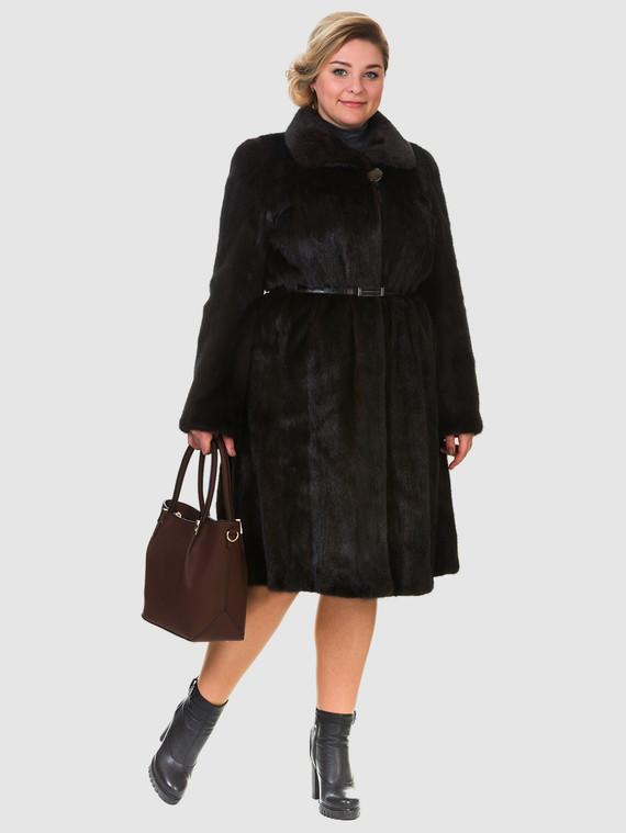 Шуба из норки мех норка, цвет темно-коричневый, арт. 07901083  - цена 119990 руб.  - магазин TOTOGROUP