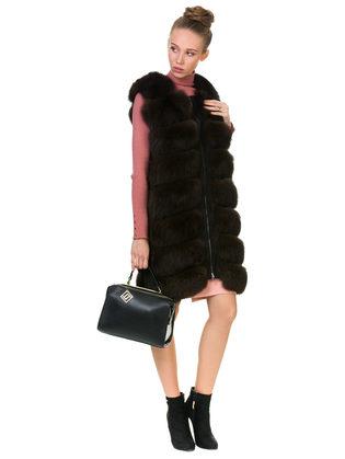 Меховой жилет мех песец, цвет темно-коричневый, арт. 07901161  - цена 25590 руб.  - магазин TOTOGROUP