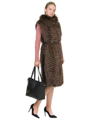 Меховой жилет мех чернобурка, цвет коричневый, арт. 07902613  - цена 29990 руб.  - магазин TOTOGROUP