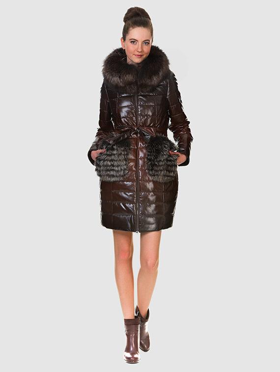 Кожаное пальто эко кожа 100% П/А, цвет коричневый, арт. 07902650  - цена 11990 руб.  - магазин TOTOGROUP