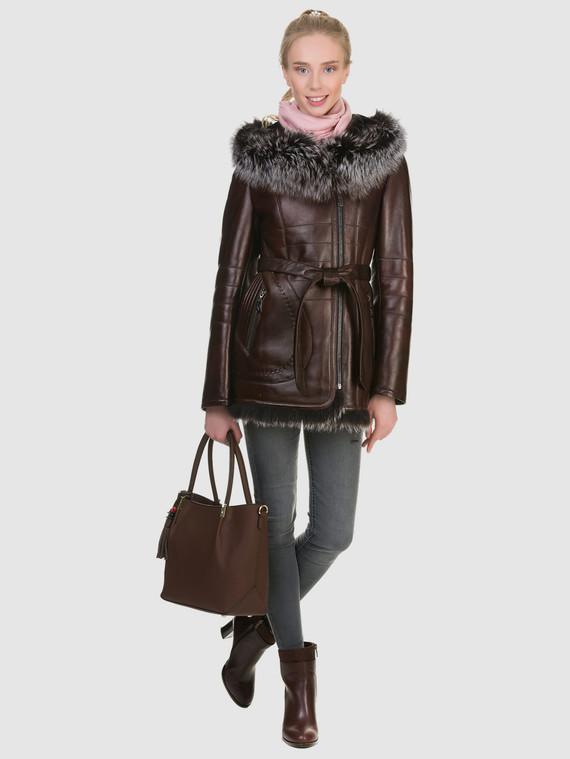 Дубленка эко кожа 100% П/А, цвет коричневый, арт. 07902684  - цена 12690 руб.  - магазин TOTOGROUP