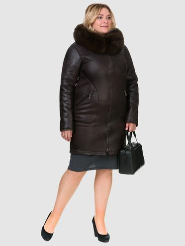 Дубленка эко кожа 100% П/А, цвет темно-коричневый, арт. 07902687  - цена 13390 руб.  - магазин TOTOGROUP