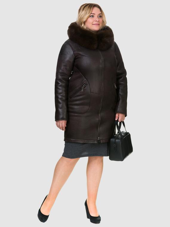 Дубленка эко кожа 100% П/А, цвет коричневый, арт. 07902687  - цена 10590 руб.  - магазин TOTOGROUP