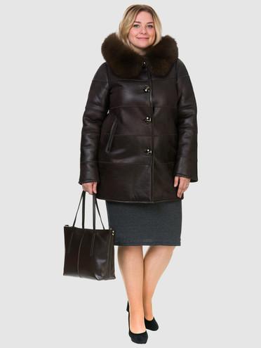 Дубленка эко-кожа 100% П/А, цвет темно-коричневый, арт. 07902688  - цена 6290 руб.  - магазин TOTOGROUP