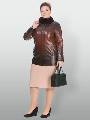 Кожаная куртка эко кожа 100% П/А, цвет коричневый, арт. 07902765  - цена 15990 руб.  - магазин TOTOGROUP