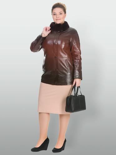 Кожаная куртка эко кожа 100% П/А, цвет темно-коричневый, арт. 07902765  - цена 11990 руб.  - магазин TOTOGROUP
