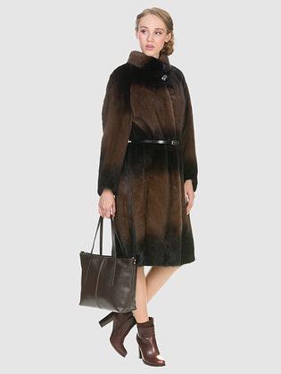 Шуба из норки мех норка крашеная, цвет коричневый, арт. 07902966  - цена 89990 руб.  - магазин TOTOGROUP