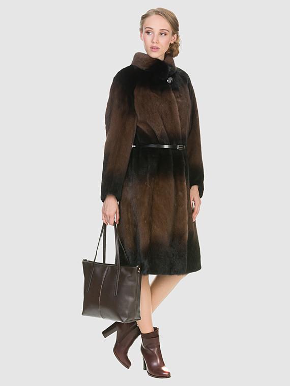 Шуба из норки мех норка, цвет коричневый, арт. 07902966  - цена 67990 руб.  - магазин TOTOGROUP